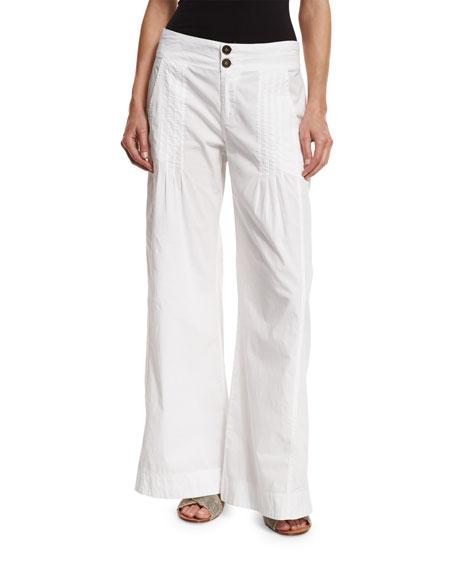 XCVI Pleated Stretch-Poplin Wide-Leg Pants, White