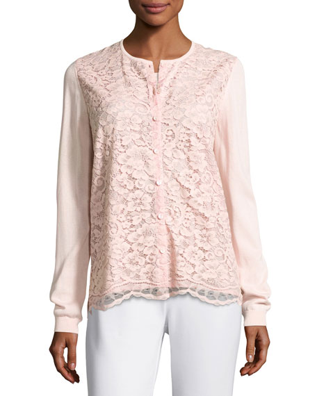 Lace-Front Cardigan, Light Pink, Petite