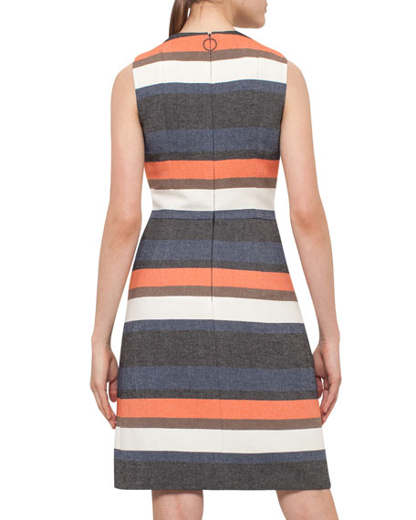 Striped Sleeveless Shift Dress, Orange Pattern