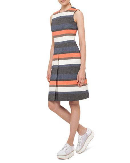 Striped Sleeveless Shift Dress, Orange Pattern