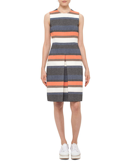 Akris punto Striped Sleeveless Shift Dress, Orange Pattern