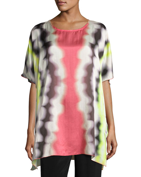 Caroline Rose Watercolor Waves Short-Sleeve Caftan, Petite