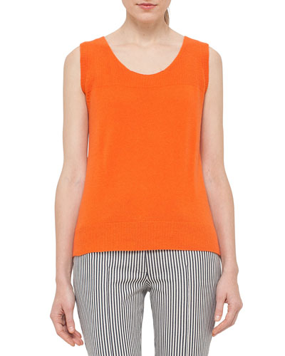 Scoop-Neck High-Low Knit Tank, Peach Best Price