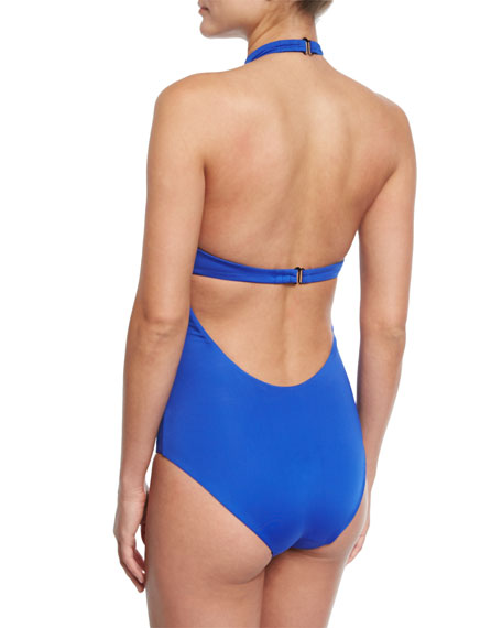 Heather Choker Solid One-Piece Swimsuit
