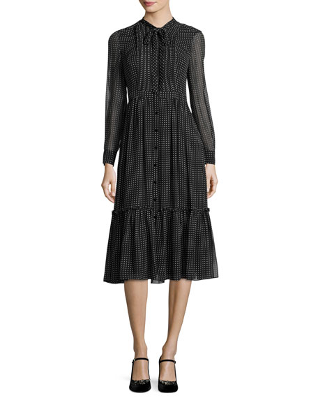 silk chiffon pin dot shirtdress, black/cream