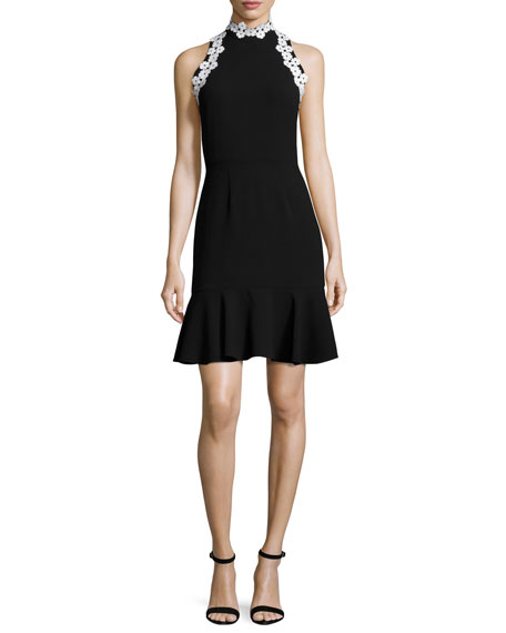 Shoshanna York Sleeveless Crepe Fit-and-Flare Flounce Dress,