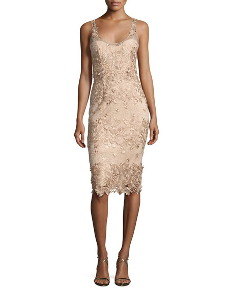 Marchesa Notte Sleeveless Metallic Floral Sheath Dress, Beige