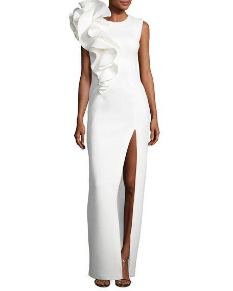 Sleeveless Ruffle-Trim Crepe Column Gown