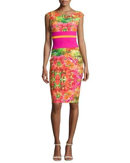 Chiara Boni La Petite Robe Sumatra Cap-Sleeve Floral Sheath Dress, Multicolor