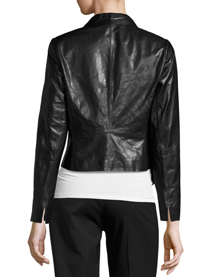Leah Glazed Lambskin Cropped Jacket, Black