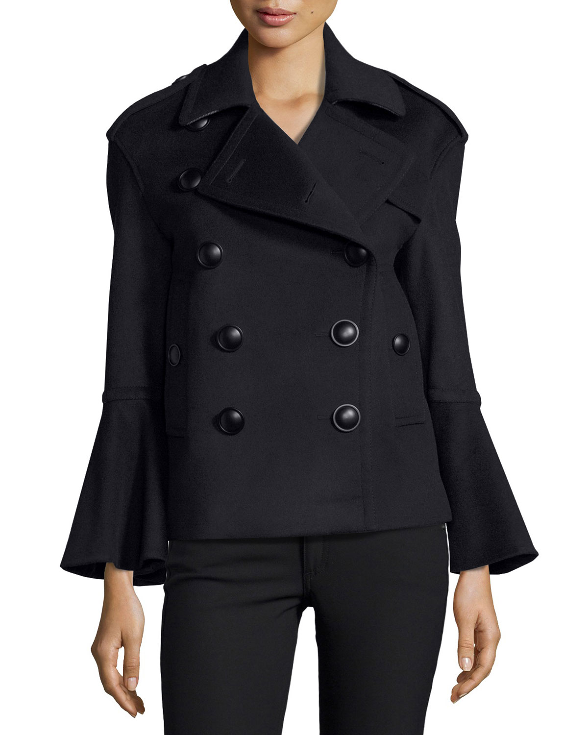 6f61356b9 Burberry Townhill Double-Breasted Flare-Sleeve Pea Coat
