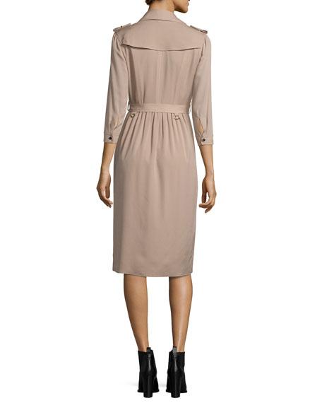Agatha Iconic Silk Wrap Trench Dress, Beige