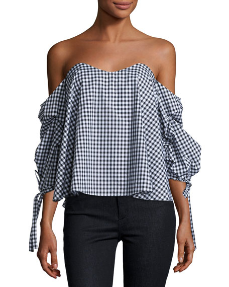 Caroline Constas Gabriella Off-The-Shoulder Gingham Bustier Top,