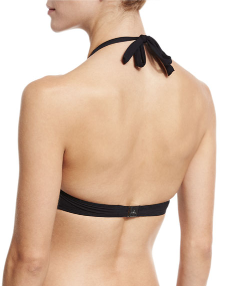 Ajourage Couture Halter Swim Top, Black