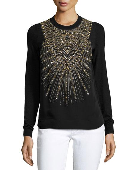 Beaded & Studded Crewneck Sweater, Black