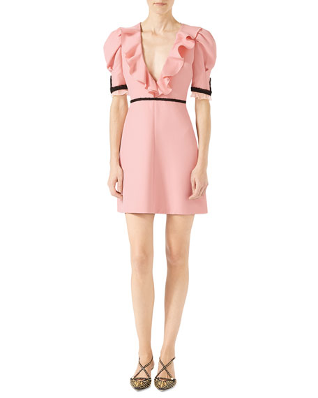 Gucci Crepe Silk Wool Dress, Light Pink