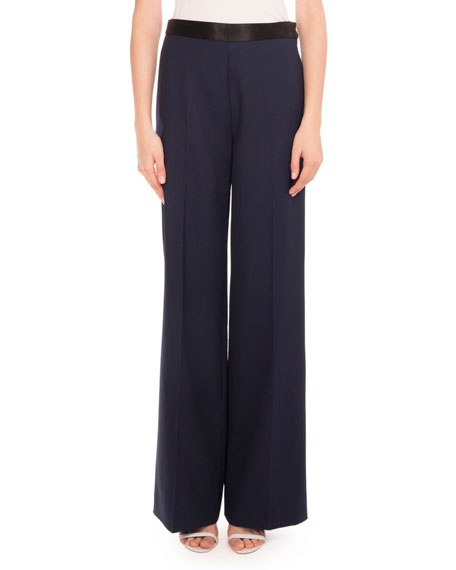 Fluid Wide-Leg Trousers, Navy/Black