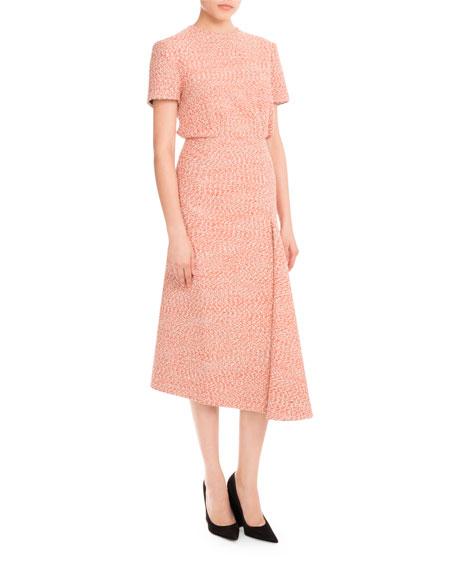Tweed Side-Drape Midi Skirt, Orange/White