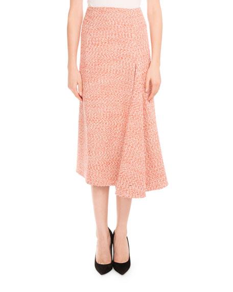 beckham tweed side drape midi skirt