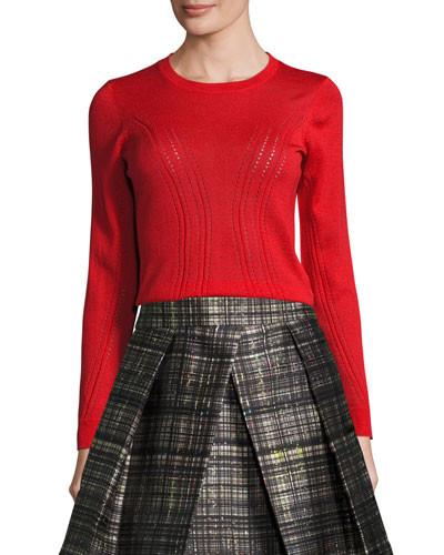 Corsetry-Stitched Wool Crewneck Sweater, Red