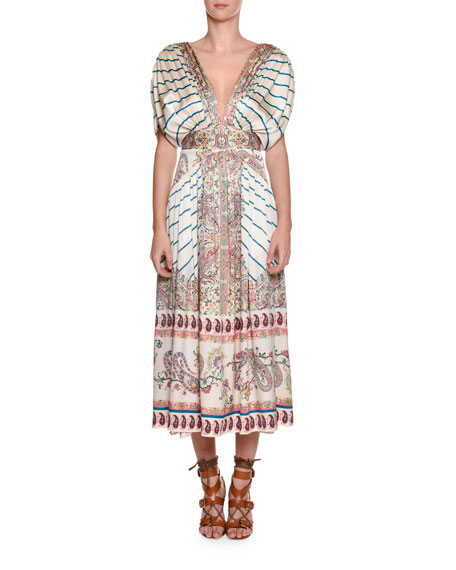 Etro Jasmin Pleated Printed Midi Dress, Multi