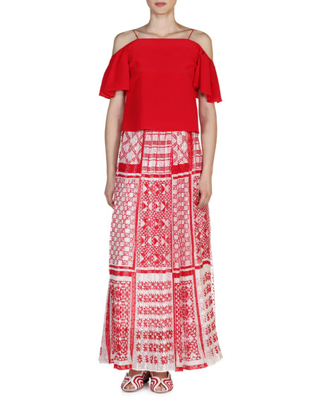 Native Quilt Maxi Skirt, Red/White