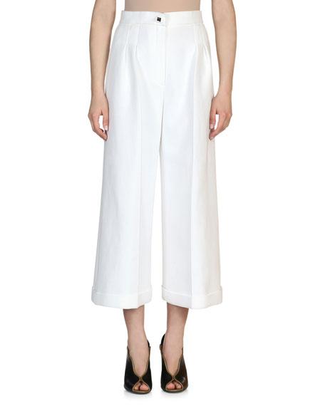Fendi High-Waist Wide-Leg Cuffed Pants, White