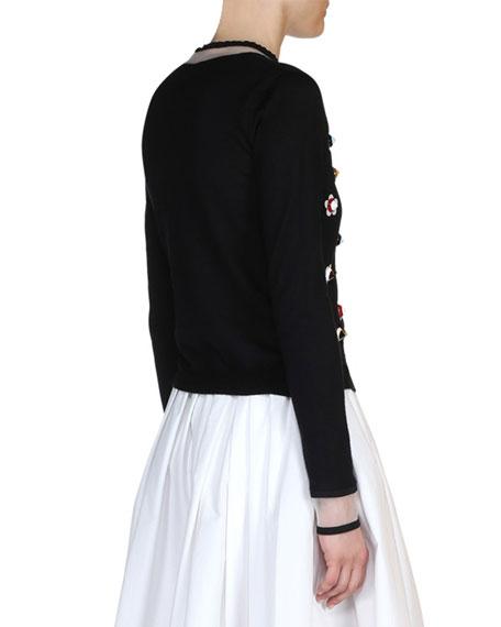 Floral-Stud Illusion Cardigan, Black/Multi Onsale