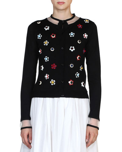 Floral-Stud Illusion Cardigan, Black/Multi Best Reviews