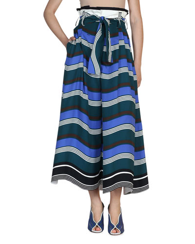 Striped Tie-Waist Wide-Leg Pants, Blue/Multi