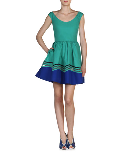 Scoop-Neck Wave Cotton Dress, Aqua Blue