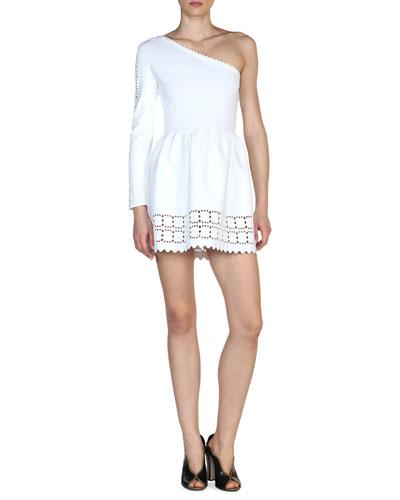 Laser-Cut One-Shoulder Dress, White