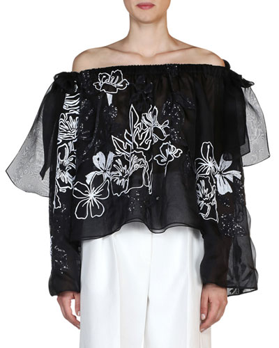 Floral-Embroidered Off-the-Shoulder Blouse, Black/White