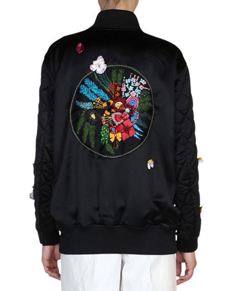 Floral-Embroidered Bomber Jacket, Black/Multi