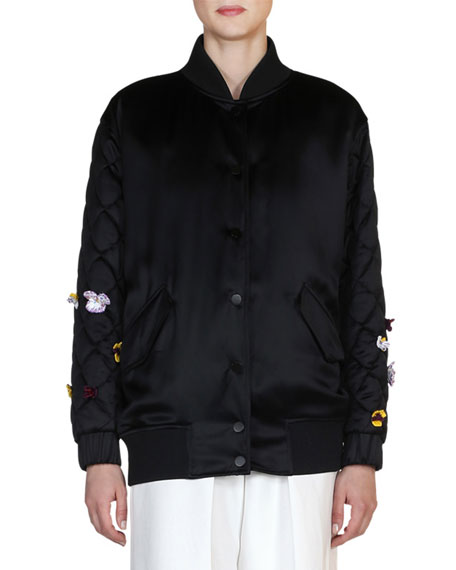 Floral-Embroidered Bomber Jacket, Black/Multi