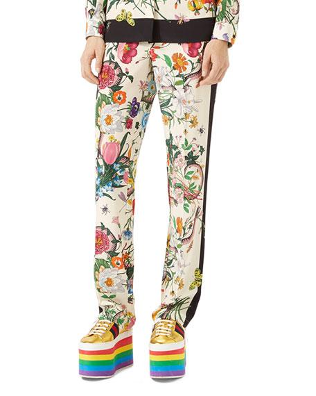 Flora Snake Silk Pajama Pants, White/Multi