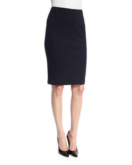 Armani Collezioni High-Waist Jersey Pencil Skirt, Midnight Blue