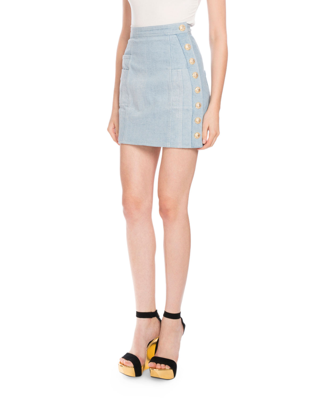 43f1529d13 Balmain Denim Button-Detail Mini Skirt | Neiman Marcus