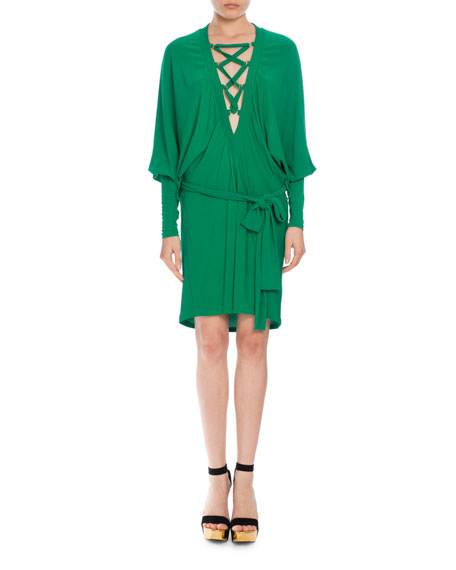 Lace-Up Belted Batwing Dress, Emerald Green