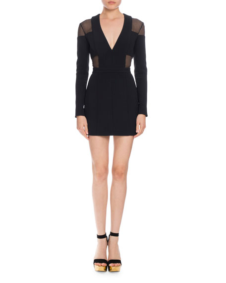 Balmain Sheer Inset V-Neck Mini Dress, Black