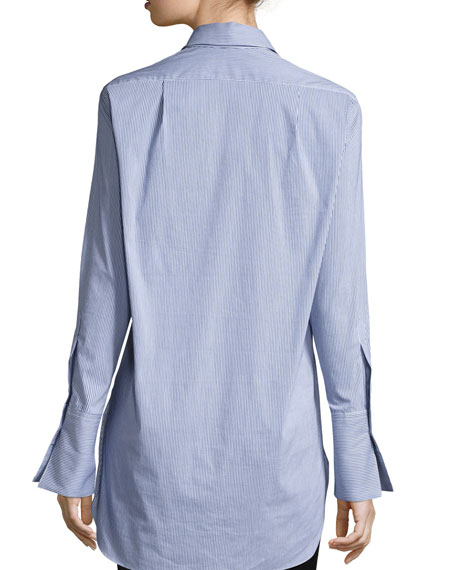 Emile Striped Button-Front Shirt, Navy