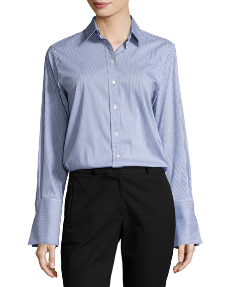 Joseph Emile Striped Button-Front Shirt, Navy