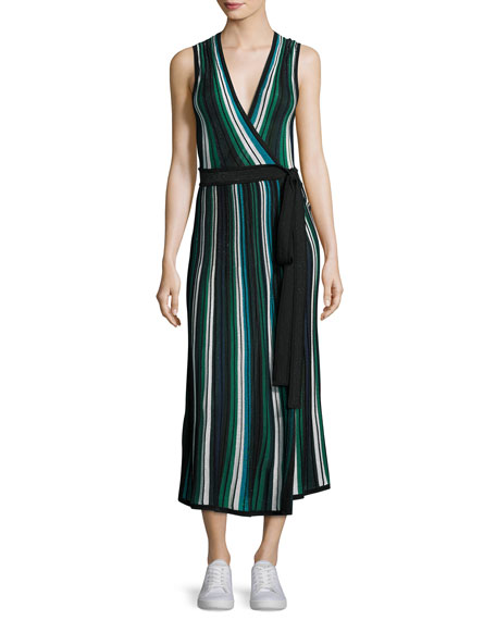 Diane von Furstenberg Cadenza Metallic Striped Sleeveless Wrap