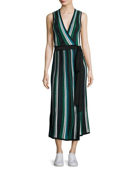 Diane von Furstenberg Cadenza Metallic Striped Sleeveless Wrap