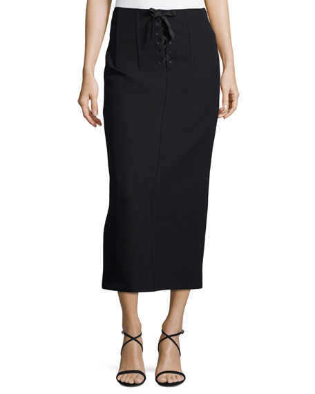 Joseph Jasper Lace-Up Scuba Pencil Midi Skirt
