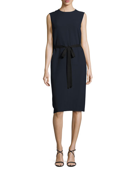 Joseph Easton Sleeveless Tie-Waist Dress, Navy