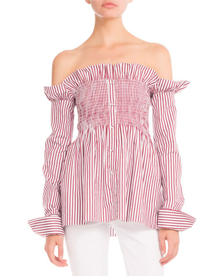 Striped Smocked Off-the-Shoulder Blouse, Maroon