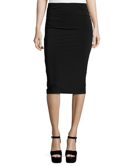 Alice + Olivia Ciera Ruched-Side High-Waist Pencil Skirt,