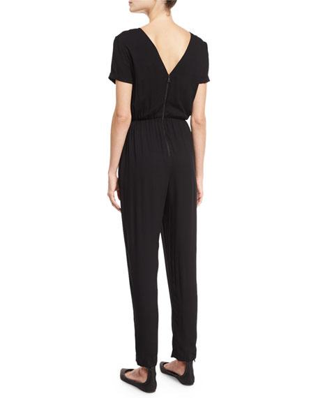 Kenzie V-Back Short-Sleeve Jumpsuit
