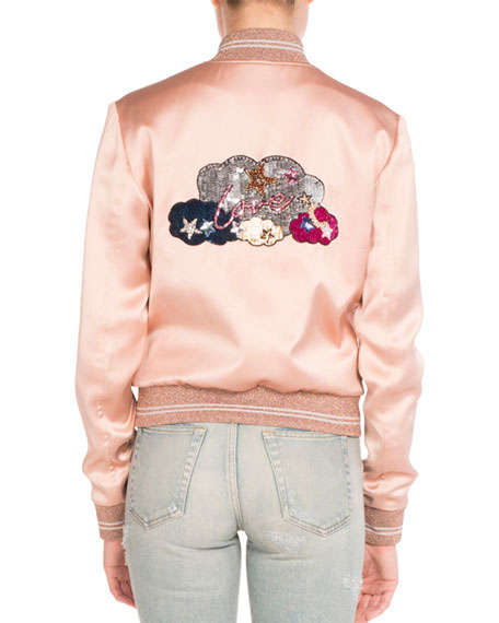 Love-Patch Satin Bomber Jacket, Light Pink